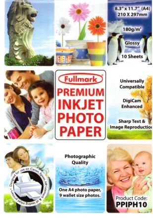 Fullmark Inkjet Photo Paper Glossy, 180 g/m2, A4, 4880dpi, 10 листа